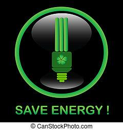 ícone, energia, salvar, eps8