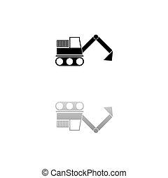 ícone, escavador, apartamento