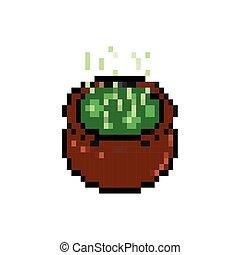 ícone, estilo, cauldron, pixelated, bits, 8