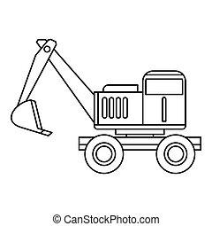 ícone, estilo, esboço, escavador