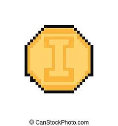 ícone, estilo, pixelated, bits, moeda, 8
