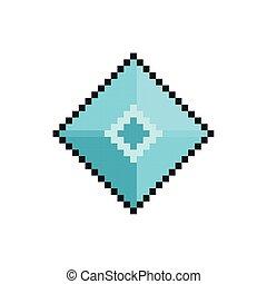 ícone, estilo, pixelated, bits, rhombus, 8