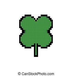 ícone, estilo, pixelated, folha, bits, trevo, 8