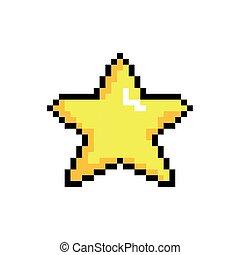 ícone, estrela, estilo, pixelated, bits, 8