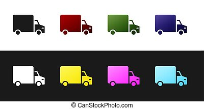 ícone, experiência., entrega, veículo, carga, branca, pretas, vetorial, isolado, jogo, caminhão