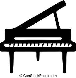 ícone, fundo, piano, branca, isolado