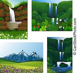 ícone, jogo, quadro, bonito, paisagem