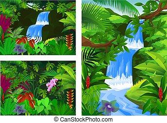 ícone, jogo, quadro, cachoeira, paisagem