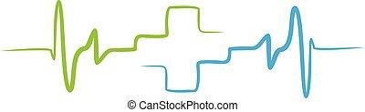 ícone, linha, pulso, arte, apps, monitor, médico, site web