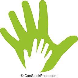 ícone, mãos, adulto, família, criança