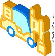 ícone, motorista, isometric, pilha, vetorial, ilustração, isolado