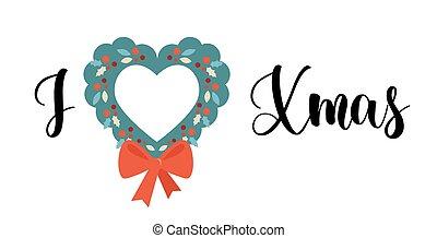 ícone, natal, lettering, white., isolado, inverno, love., adesivo, ícone, cartão, apartamento, desenho, amor, conceito, vetorial