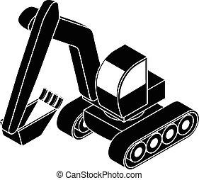 ícone, simples, estilo, escavador