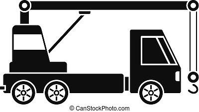 ícone, simples, guindaste, caminhão, estilo