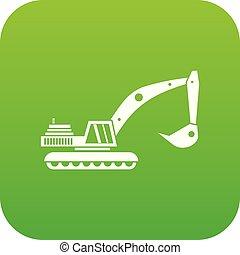 ícone, verde, escavador, digital
