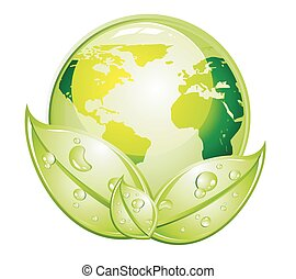 ícone, verde, mundo, lustroso