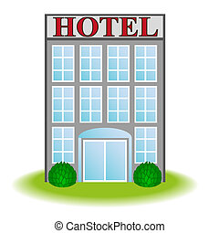 ícone, vetorial, hotel