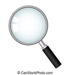 ícone, vetorial, vidro, magnificar