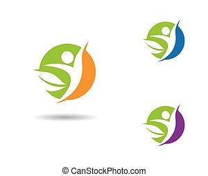 ícone, vida, vetorial, saudável, modelo, logotipo