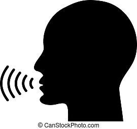 ícone, voz, falando