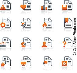 ícones, -2, /, série, grafita, documentos
