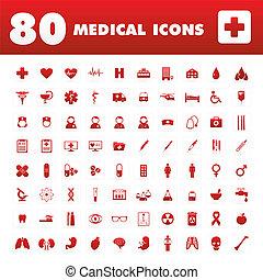 ícones, 80, médico