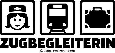 ícones, alemão, título, trem trabalho, assistente