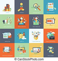 ícones, apartamento, marketing, desenho