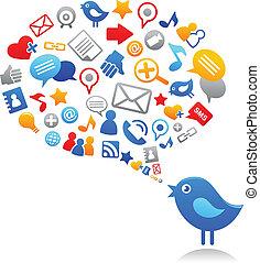 ícones, azul, social, pássaro, mídia