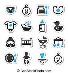 ícones, bebê, jogo, vetorial, infancia