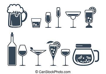 ícones, bebida, álcool, jogo, bebida