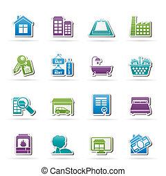 ícones, bens imóveis, objetos