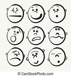 ícones, caricatura, rosto