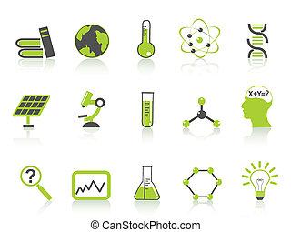 ícones, ciência, jogo, série, verde, simples