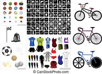 ícones, cobrança, equipamento, fundo, branca, desporto