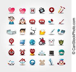 ícones, cobrança, hospitalar, vetorial, médico