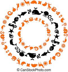 ícones, -, cobrança, planeta, ecológico, animal