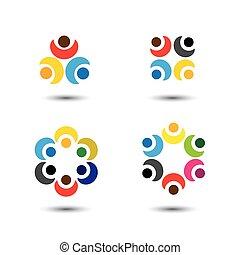ícones, coloridos, pessoas, escola, -, jogo, círculo, vetorial, conceito