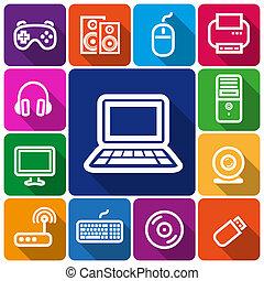 ícones, computador