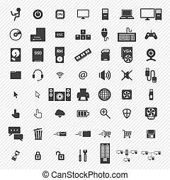 ícones, computador, set., ilustração