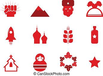 ícones, comunismo, rússia, (, isolado, jogo, vermelho, ), branca