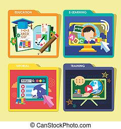 ícones, conceitos, projeto fixo, apartamento, educação