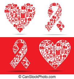 ícones, coração, fazer, ajudas, médico