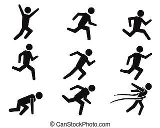 ícones, corredor, figura, jogo, vara