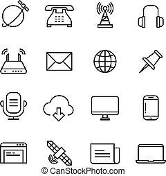 ícones correia fotorreceptora, marketing, monitorando, comunicação, telefone, vetorial, linha