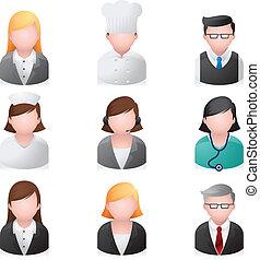 ícones correia fotorreceptora, pessoas, -, profissional
