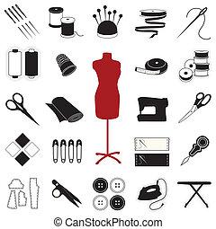 ícones, costurando, &, cosendo
