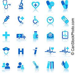 ícones, cuidado, saúde