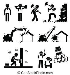 ícones, demolir, demolição, predios