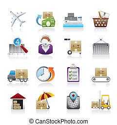 ícones, despacho, logistic, carga